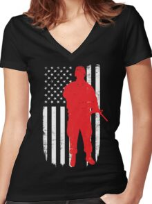 Army Soldier Flag Day Memorial T-shirt Women's Fitted V-Neck T-Shirt