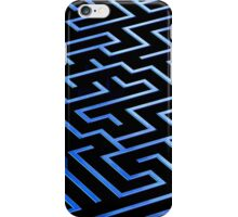 Blue labyrinth pattern on a black background iPhone Case/Skin