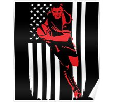Rugby Player Flag Day Memorial T-shirt Poster