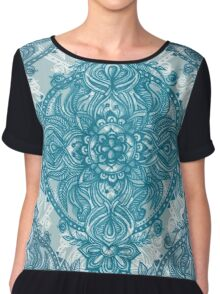 Teal & White Lace Pencil Doodle Chiffon Top