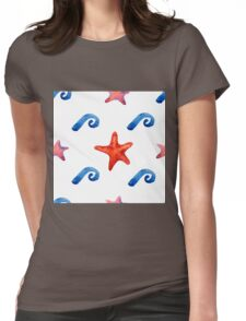 watercolor blue wave pattern Womens Fitted T-Shirt