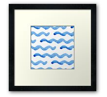 Abstract watercolor blue wave pattern, water texture sketch background. Drawing by hand illustration Framed Print