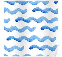 Abstract watercolor blue wave pattern, water texture sketch background. Drawing by hand illustration Poster