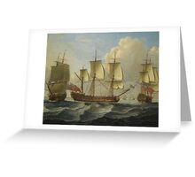 John Cleveley the Elder - An East Indiamam in three pasitions Greeting Card