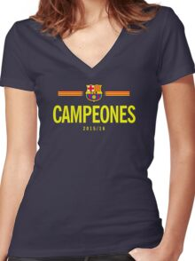 Barcelona Campeones Women's Fitted V-Neck T-Shirt