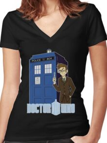 Dr Who Animated (no background) Women's Fitted V-Neck T-Shirt
