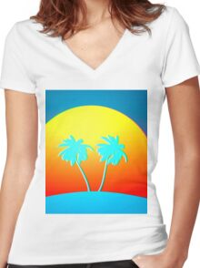Psychedelic Palms Women's Fitted V-Neck T-Shirt