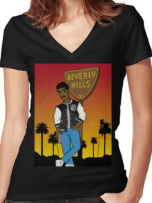 Axel Foley Animated Women's Fitted V-Neck T-Shirt