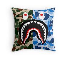 shark army blue Throw Pillow