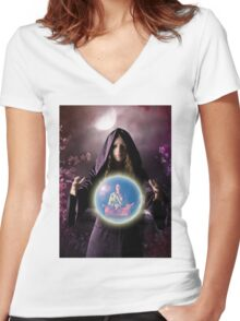 fantastic portrait of young girl Women's Fitted V-Neck T-Shirt