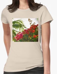 Tropical Impressions - Bougainvilleas and Palm Fronds in the Sky Womens Fitted T-Shirt