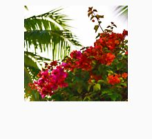 Tropical Impressions - Bougainvilleas and Palm Fronds in the Sky Unisex T-Shirt