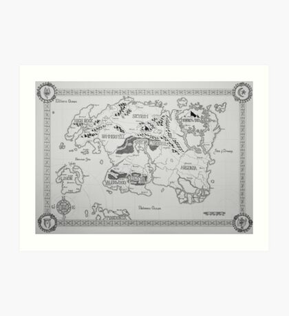 Elder Scrolls map in ink Art Print