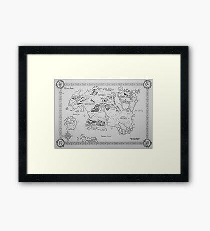 Elder Scrolls map in ink Framed Print