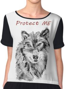 Protect Me - Wolf Art by Valentina Miletic Chiffon Top