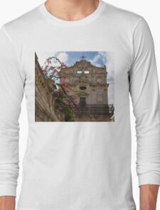 Sunlit Pink Bougainvillea at Santa Lucia alla Badia Church in Syracuse, Sicily Long Sleeve T-Shirt