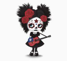 Sugar Skull Girl Playing Taiwanese Flag Guitar One Piece - Long Sleeve