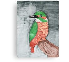 Colorful Red and Green Kingfisher Bird Canvas Print