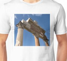 Ancient Pompeii Broken Treasures - A Skyward View of a Classical Corinthian Colonnade Unisex T-Shirt
