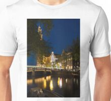 Magical Amsterdam Night - Westerkerk Through the Trees Unisex T-Shirt
