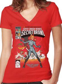 Secret Brawl Women's Fitted V-Neck T-Shirt