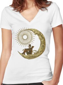 Moon Travel Women's Fitted V-Neck T-Shirt