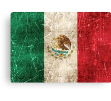 Vintage Aged and Scratched Mexican Flag Canvas Print