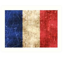 Vintage Aged and Scratched French Flag Art Print