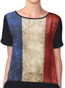 Vintage Aged and Scratched French Flag Chiffon Top