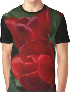 Rainy Spring Garden with Vivid Red Tulips Graphic T-Shirt