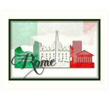 Rome Italy with Italian Flag Art Art Print