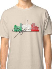 Rome Italy with Italian Flag Art Classic T-Shirt