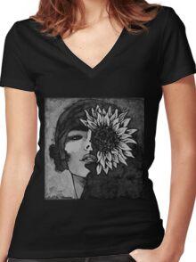 Sunflower Girl Women's Fitted V-Neck T-Shirt