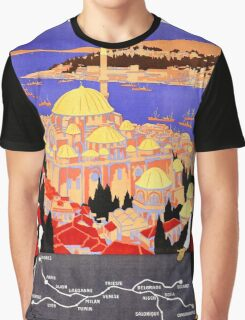 Vintage Simplon Orient Express London Constantinople Graphic T-Shirt