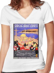 Vintage Simplon Orient Express London Constantinople Women's Fitted V-Neck T-Shirt