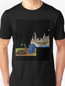 The Doctor and Hogwarts, 8-Bit Art Compilation T-Shirt