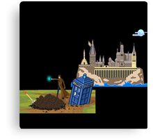 The Doctor and Hogwarts, 8-Bit Art Compilation Canvas Print