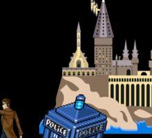 The Doctor and Hogwarts, 8-Bit Art Compilation Sticker