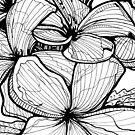 Celadine - Ink Flower Drawing by Danielle Scott