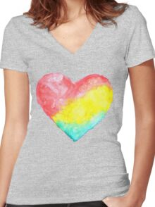 cute watercolor heart Women's Fitted V-Neck T-Shirt