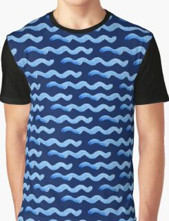 watercolor blue wave pattern Graphic T-Shirt