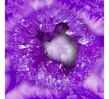 Amethyst purple heart shaped crystals geode Photographic Print