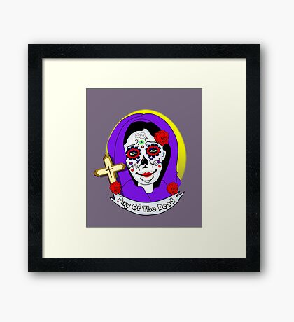 Day of The Dead Painted Lady Scrolls Roses Graphic Framed Print
