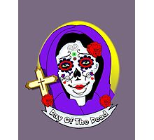 Day of The Dead Painted Lady Scrolls Roses Graphic Photographic Print