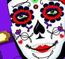 Day of The Dead Painted Lady Scrolls Roses Graphic Sticker