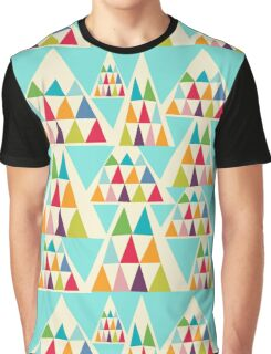 Geometeric Multicolor Triangle Pattern Graphic T-Shirt
