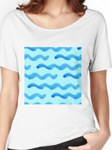 watercolor blue wave pattern Women's Relaxed Fit T-Shirt