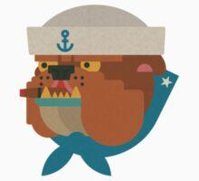 Flat Design Bulldog Sailor Kids Tee