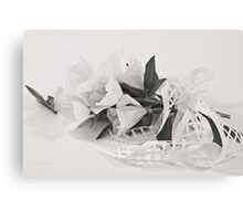 Ribboned White Godetia Flowers Canvas Print