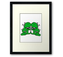 cartoon papa mama family team few fathers day, boy, girl mothers sweet little cute child baby snake comic Framed Print